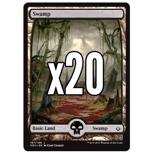 Cool Stuff Inc., LLC 20 Hour of Devastation Swamp #187 Magic The Gathering Basic Full Art Land Lot