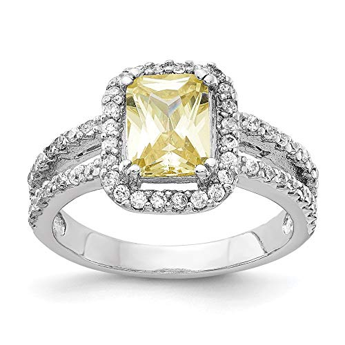 (925 Sterling Silver Cushion Cubic Zirconia Cz Canary Square Band Ring Size 8.00 Fine Jewelry Gifts For Women For Her)