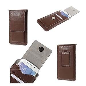 DFV mobile - Funda con Tarjetero Estuche Cinturon Vertical Piel Sintetica Premium para => N9500 > Marron