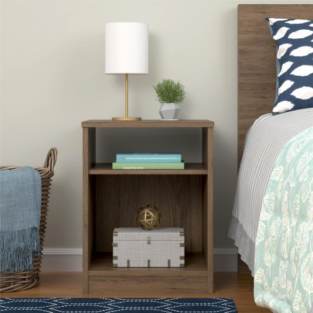 Cheap Mainstays Nightstand Features Open Top Shelf and Bottom Cubby, Rustic Oak