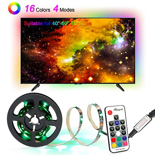 LED Strips Lights, 2.0M/6.56ft USB TV Backlights with 16 Colors and 4 Modes for 40-60 inch HDTV/PC Monitor, SMD 3528 Bias Lighting with 17-Key Remote Control ()