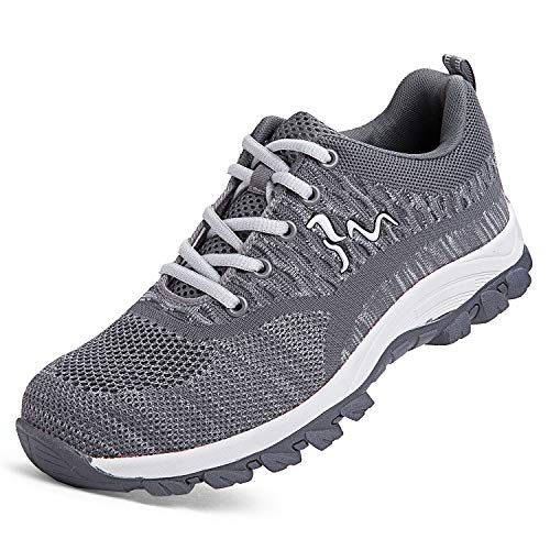 (JACKSHIBO Work Safety Shoes for Women Men Steel Toe Indestructible Shoes Construction Puncture Proof Sneakers Composite Toe Hiking Shoes 118 Grey 6.5-7 M US)