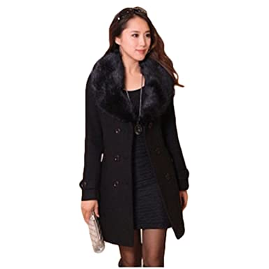 e850fa061d8 GALHAM Womens Plus Size winter Double Breasted fur Wool long Jacket coat M  Black