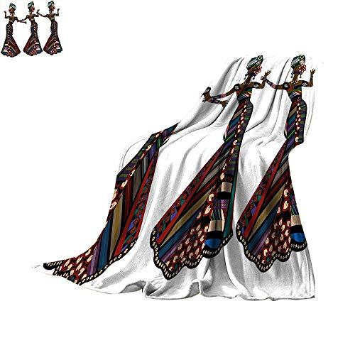 African Woman Super Soft Lightweight Blanket Young Women in Stylish Native Costumes Carnival Festival Theme Dance Moves Digital Printing 60