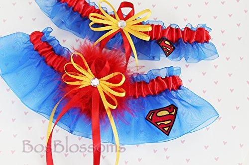 Customizable handmade bridal garters using Superman fabric - blue organza - wedding prom garter set with red marabou puff
