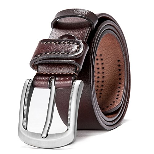 Men's 100% Italian Genuine Cow Leather Belt With Gift Box - Belt Genuine Italian