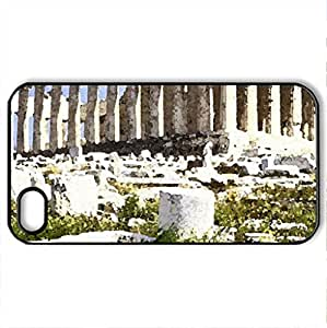 Parthenon, Athens, Greece - Case Cover for iPhone 4 and 4s (Monuments Series, Watercolor style, Black)