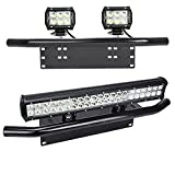 MICTUNING Universal License Plate Mounting Bracket w/ Front Bull Bar Bumper for Off Road LED Work Light Bar - Black
