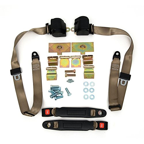 Eckler's Premier Quality Products 25171205 Corvette 3Point Shoulder Harness & Seat Belt Kit Retractable Retrofit Saddle