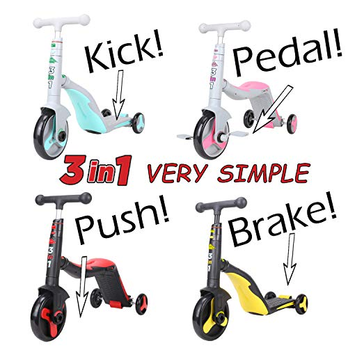 SCOOTER - TUTOR! 3-in-1. Converts from Kick Scooter to Tricycle to Push Bike in Seconds Without Tools. Teaches Kids to Ride. for Small Kids up to 88 lbs. Inspected and Certified. Good Choice! from SCOOTER - TUTOR 3 IN 1