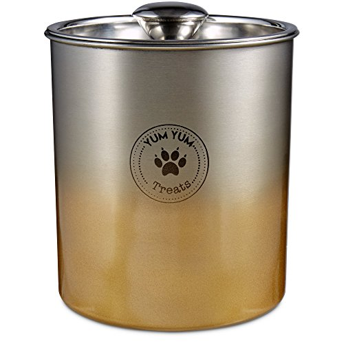 Harmony Stainless Steel Gold Ombre Dog Treat Jar, Small, Gold / Silver