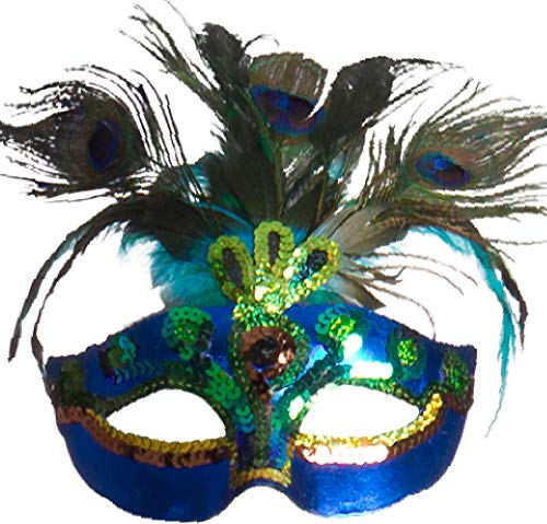 AMSCAN Peacock Feather Masquerade Mask Halloween Costume Accessories, One Size]()