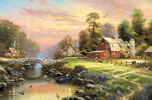 Thomas Kinkade Border (The Period H1207 Thomas Kinkade Sunset At Riverbend Farm, (16x20Inch)Only Canvas Oil Painting Home decoration Living Room bedroom)