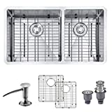 MOWA HUD33DO Pro Series Handmade 33' 16 Gauge Stainless Steel Undermount 60/40 Double Kitchen Sink - Upgraded w/Perfect Drainage, Bonus Combo w/Soap Dispenser, Basket Strainers & Sink Grids