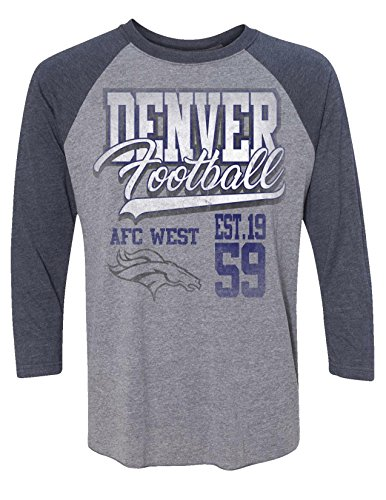 - Zubaz NFL Denver Broncos Men's 3/4 Raglan Tee, X-Large, Gray