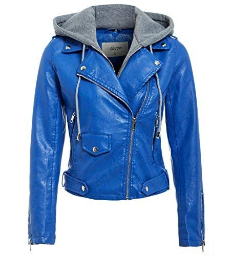Veste simili cuir femme bleu marine