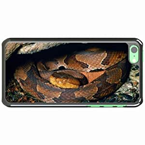 iPhone 5C Black Hardshell Case hide moss rocks snake Desin Images Protector Back Cover
