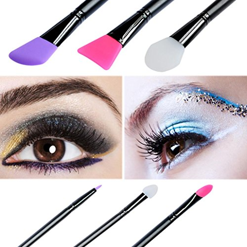 6PCS Oval Toothbrush Makeup Brushes Set with Gift Box (Black) - 7