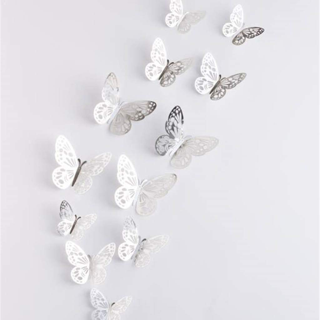 Hollow-Out 3D Butterfly Stickers Wall Decorations Butterfly Wall Decals Glitter Art Murals for Wall or Party Decorations Butterfly Wall Sticker