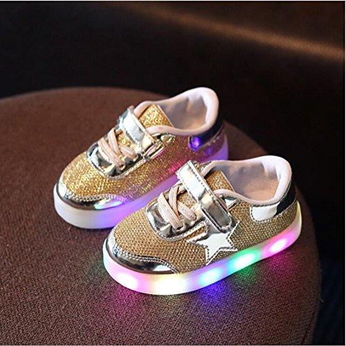 LED Schuhe helle Schuhe, Stillshine - Kinder Jungen-Mädchen-reizende LED helle Schuh-Turnschuhe Halloween-Weihnachtsgeschenk (25, Rosa) Golden