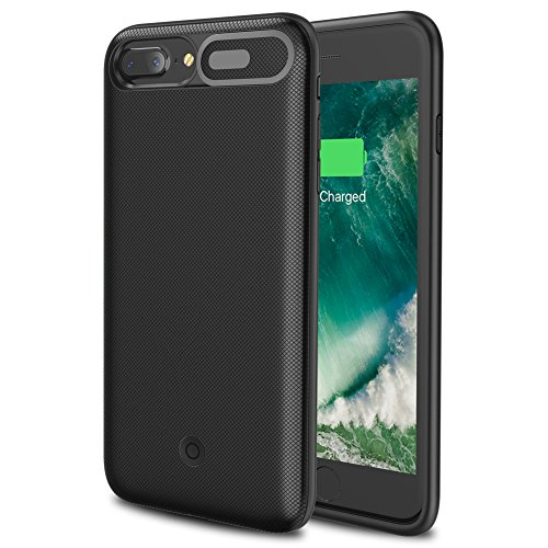 iPhone 8 Plus/7 Plus Battery Case, Wavypo 7500mAh Soft TPU Ultra Slim Rechargeable Portable Protective External Battery Power Charger Case for iPhone 8 Plus/7 Plus (Black) by Wavypo