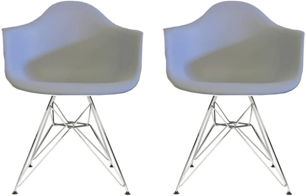 Dining Chair Black Set of 2 Plata Import Eiffel Style Bucket Chair with Chrome Legs