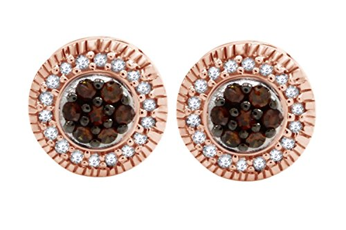 - 14K Rose Gold over Sterling Silver Chamange and White Diamond Cluster Stud Earrings (1/4 cttw)