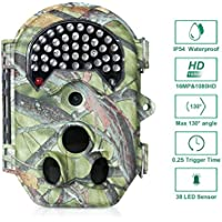 FLAGPOWER Trail Camera, 16MP 1080P HD 120°wide Sensor Wildlife Game Hunting Camera 20M/65ft Infrared Scouting waterproof Camera with Night Vision 38pcs IR LEDs & LCD screen