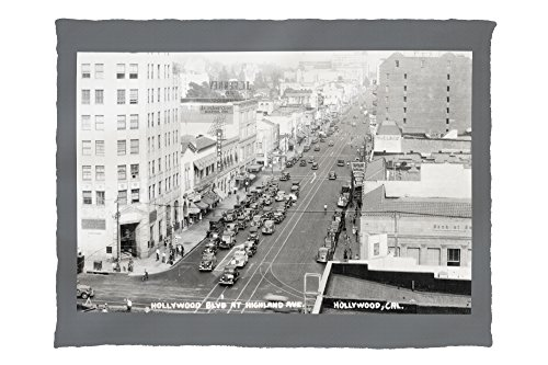 Hollywood, California - Hollywood Blvd and Highland Ave Photograph (60x80 Poly Fleece Thick Plush - Blvd California Hollywood Map