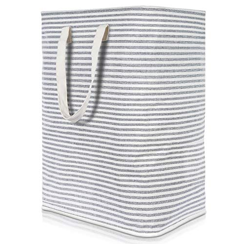 Lifewit Laundry Hamper Clothes Hamper Large Capacity Basket with Extended Handles for Storage Clothes Toys in Bedroom, Bathroom, Foldable, 72L, Grey (Wicker Stair Grey Basket)