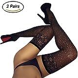 Black Fishnet Tights for Women Seamless Sparkle Rhinestone Mesh Pantyhose 2 Pairs (Regular, Thigh High)