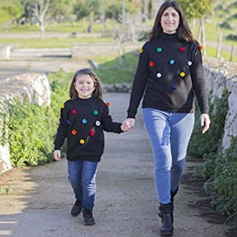 Mother Daughter Matching Long Sleeve Tops Hairball Sweatshirt Parent Child Pullover for Halloween Christmas