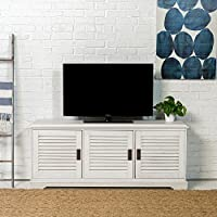WE Furniture 60 Coastal TV Console with Louvered Doors, White Wash