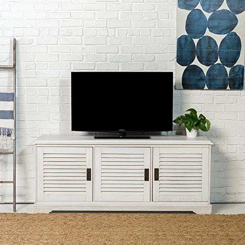 WE Furniture 60' Coastal TV Console with Louvered Doors, White Wash