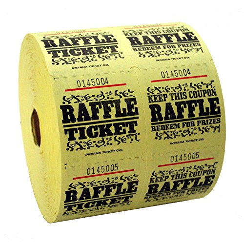 Yellow Raffle Tickets : roll of 1000
