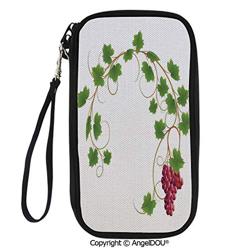 PUTIEN Portable diagonal dual-use samll Purse Curved Ivy Branch Deciduous Woody Wines Seed Clusters Cabernet Kitchen for Shopping travel picnic business.