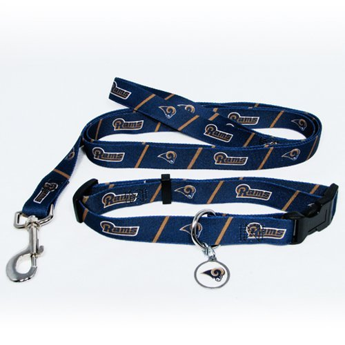 St. Louis Rams Pet Set Dog Leash Collar ID Tag MEDIUM by Hunter