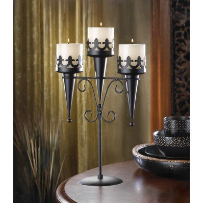 New Medieval Triple Candle Stand Gothic Black Candelabra Table Centerpiece