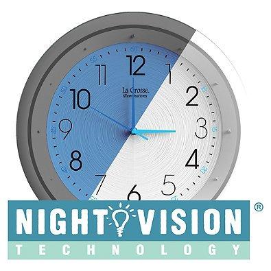 La Crosse Technology Night Vision Analog Wall Clock Measures 11'' L x 2-1/2'' W x 13'' H