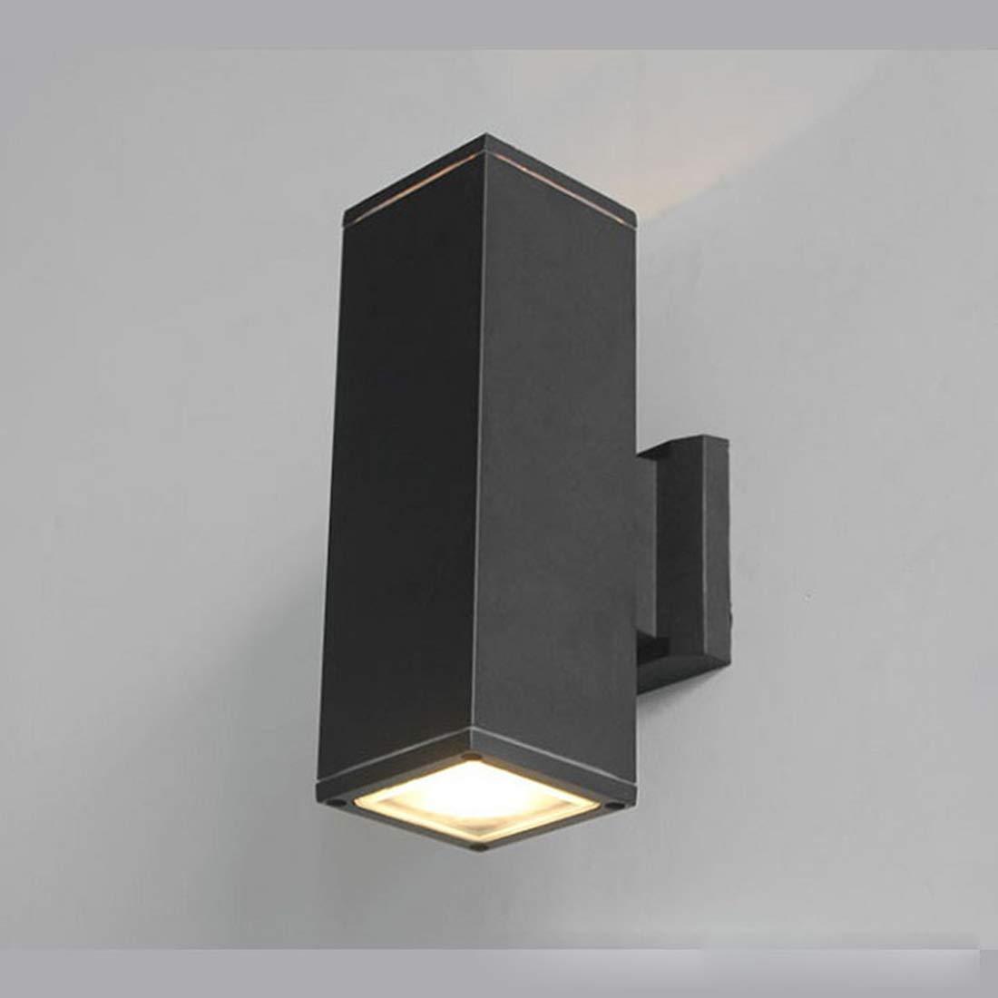 Cvthfyky Moderno nero doppio su giù per esterno applique da parete impermeabile applique da parete per balcone cortile porta (Colore   Warm bianca light-12W)