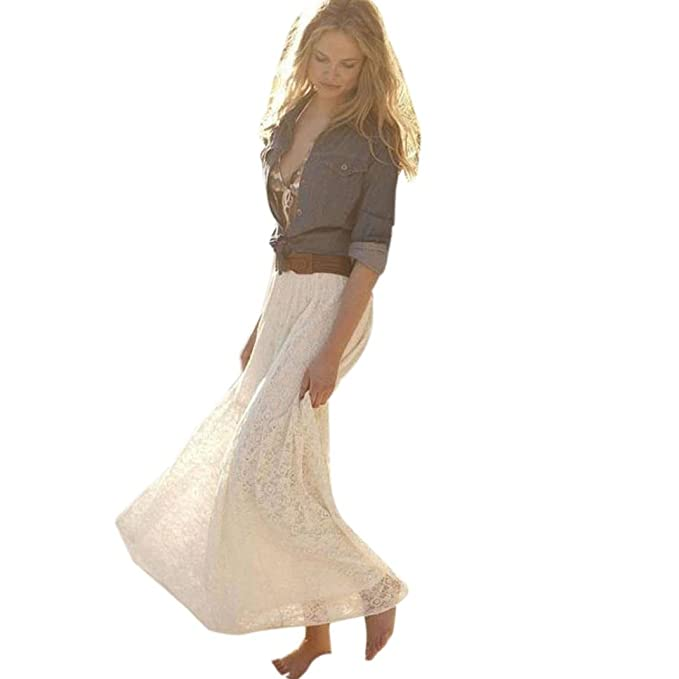 Sannysis Falda Larga Mujer Maxi Faldas Plisadas de Encaje Doble ...