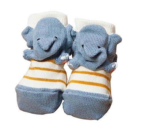 冬/秋の靴下ベビーソックスのペア[象]
