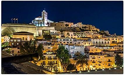España casas noche luces de calle árboles Ibiza ciudades sitios de ...