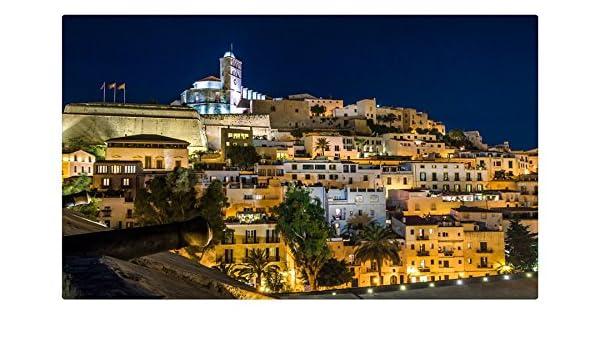 España casas noche luces de calle árboles Ibiza ciudades sitios de viajes postal Post tarjeta: Amazon.es: Oficina y papelería