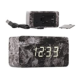 Maytime Multi-function Wooden Alarm Clock with Snooze and USB Power Supply, Cuboid - Marble