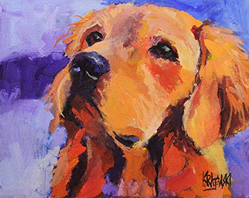 Golden Retriever Gifts Art Print from Original Watercolor Painting, Dog Gifts and Portraits by Ron Krajewski