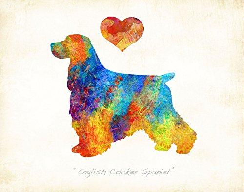 Water Spaniel Dog Art (ENGLISH COCKER SPANIEL Dog Watercolor Art Print by Dan Morris)