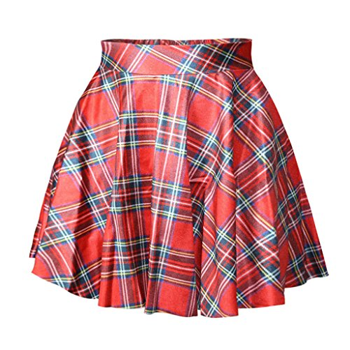 Plaid Skirt Pleated Red (Women Girls Timeless Clothing Red Plaid Grid Stretchy Flared Pleated Short Skirt)