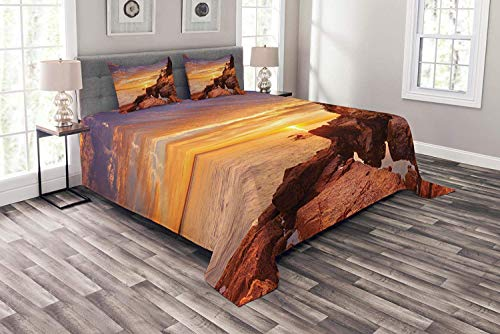 National Parks Coverlet Set King Size, Lighthouse on Stones Coastline Horizon Dramatic Island Ocean Harbor Nautical, Decorative Quilted 3 Piece Bedspread Set with 2 Pillow Shams, Orange