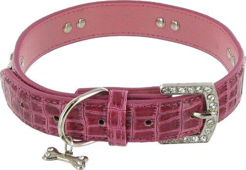 Kakadu Pet Park Avenue Leather Rhinestone Dog Collar, 3/4″ x 17 1/2″, Pink, My Pet Supplies